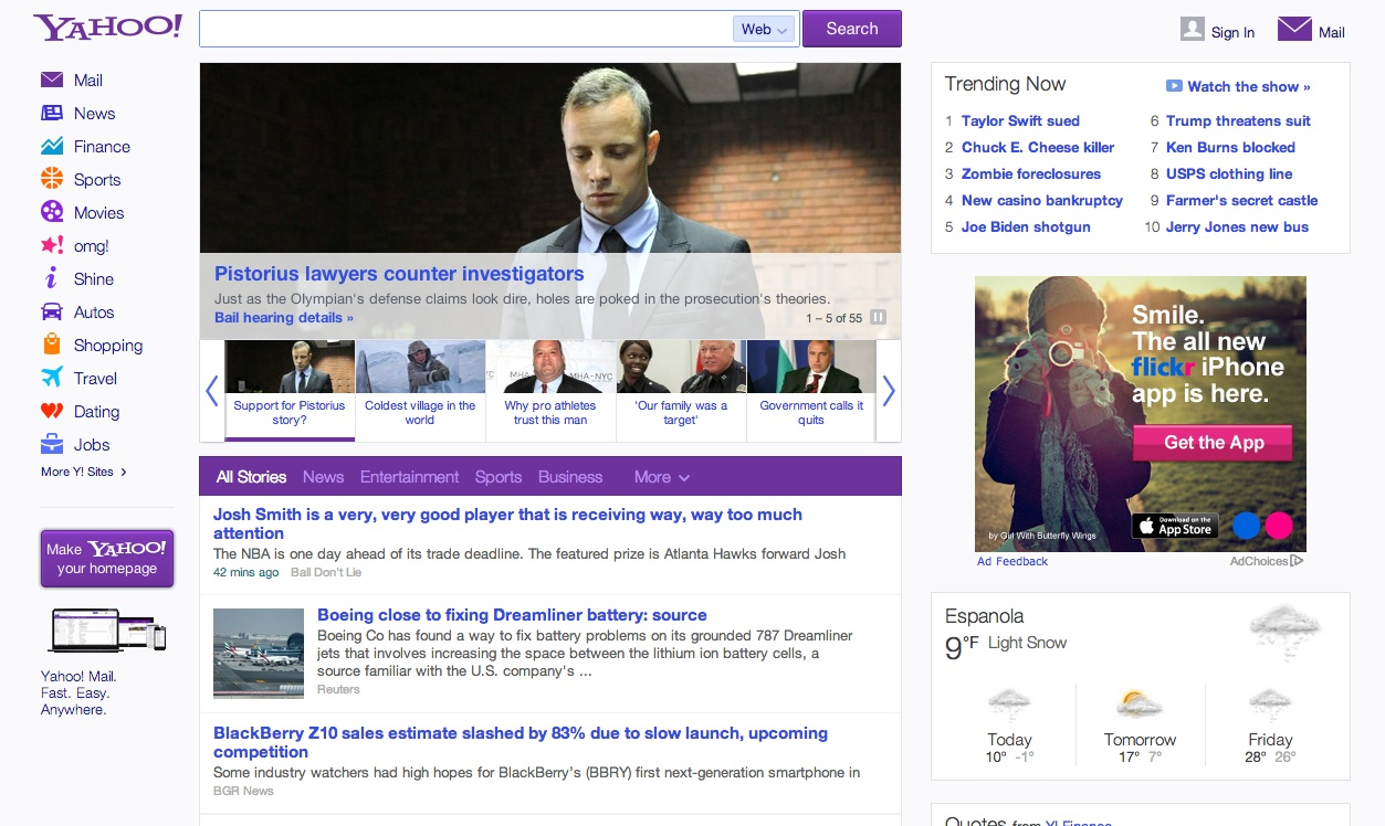 Yahoo com home page - The Long Awaited Makeover Of Yahoo Com S Home Page Is The Most Notable Change To The Website Since The Internet Company Hired Marissa Mayer As Its Ceo Seven