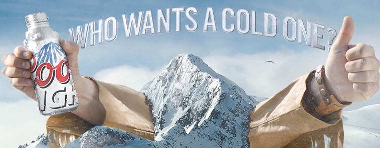 new coors light ad starts on the mountain but goes