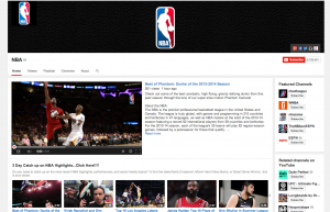 The NBA's current YouTube channel