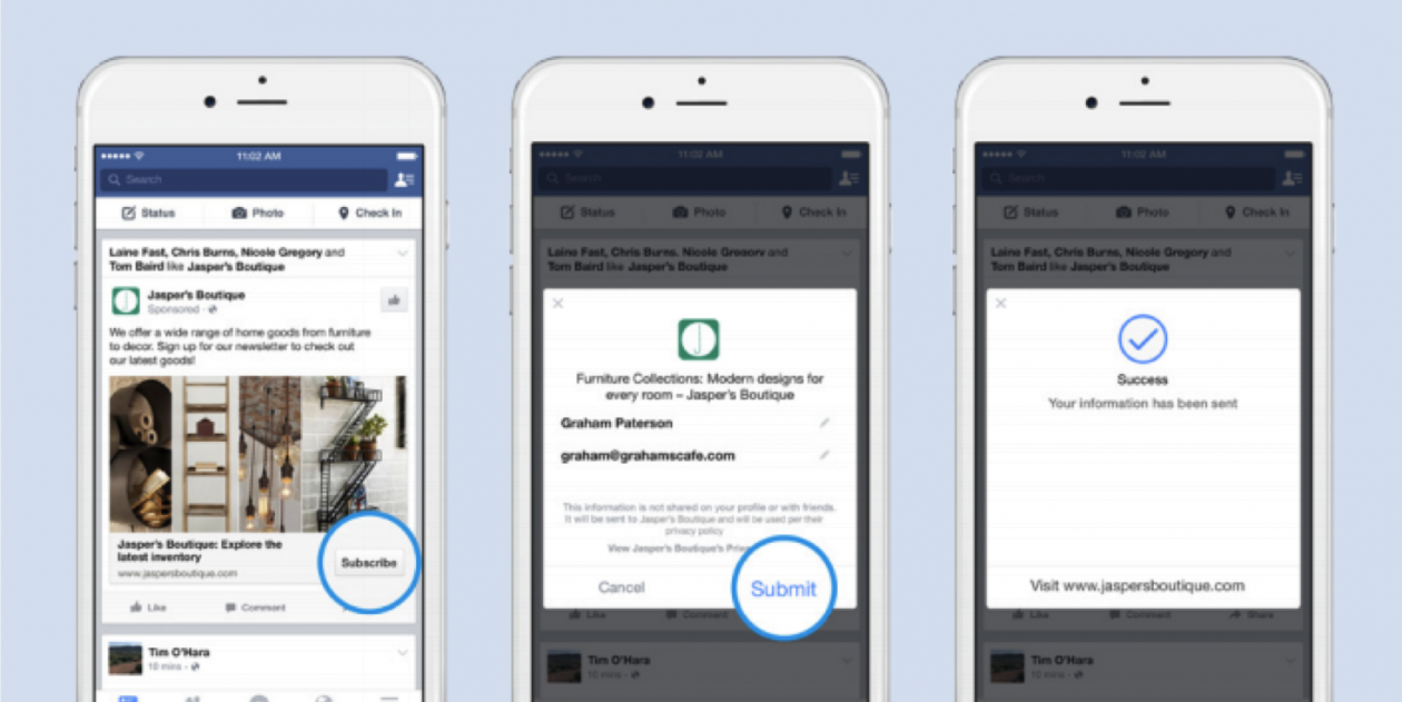 Leads can now sign up for more info within Facebook ads
