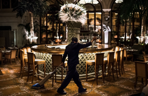 Lau Chun-Tai cleans the Palm Court. He has been doing custodial work on the night shift at the Plaza for 8 years.