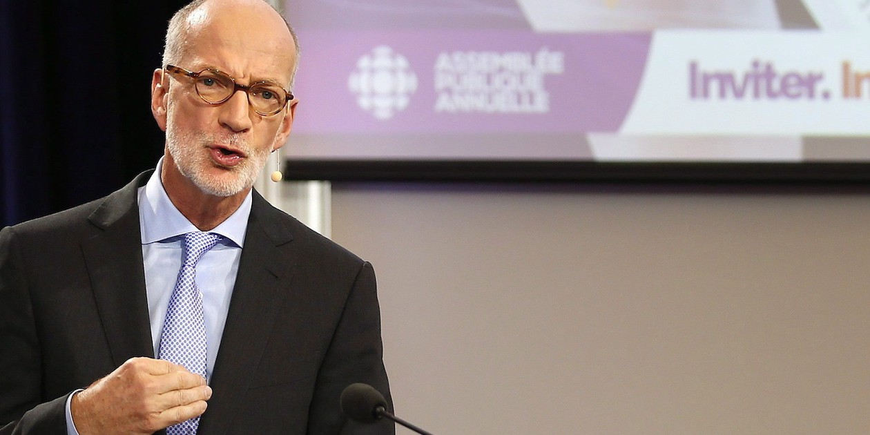 Hubert Lacroix, President and CEO of CBC/Radio Canada, speaks at their annual public meeting at the University of Winnipeg in Winnipeg, Tuesday, September 29, 2015. THE CANADIAN PRESS/John Woods