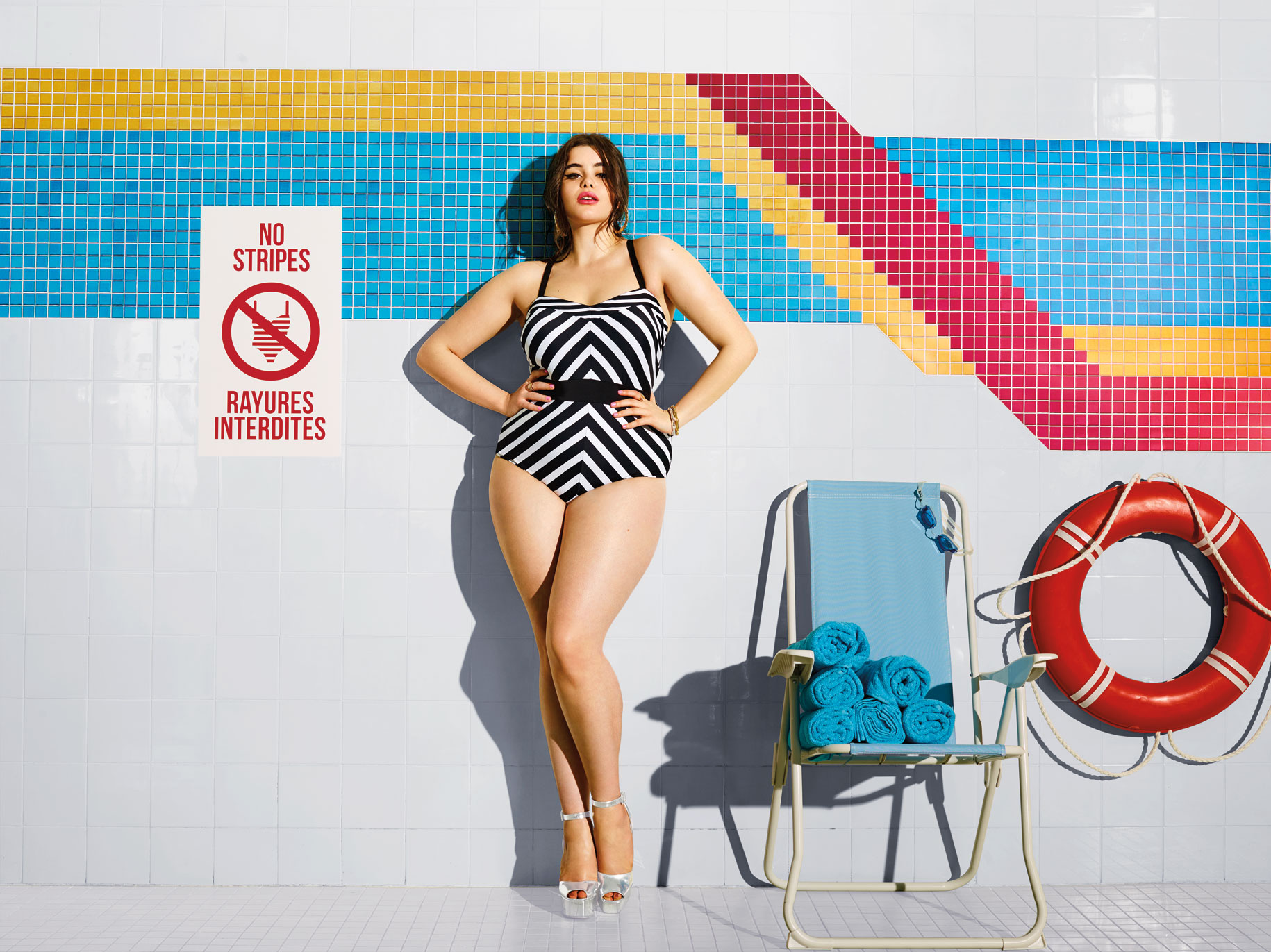 "817117d2289 Addition Elle is encouraging its plus-size customers to forget about the  ""rules"" of wearing swimwear this summer."
