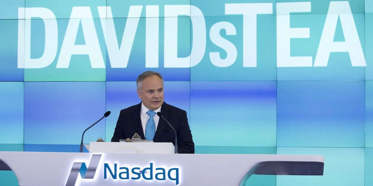 Sylvain Toutant, President and CEO of DavidsTea, speaks during the company's IPO at the Nasdaq MarketSite, Friday, June 5, 2015 in New York. As of Jan. 31, the Montreal-based beverage chain operated 130 locations in Canada and 24 shops in the U.S. (AP Photo/Mark Lennihan)